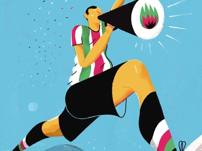 Panenka / Roberto Bishara fight fire player american fifa football palestine america chile giant texture editorial illustration design art character brushes photoshop editorial illustration