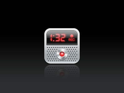Voice Memos iphone ios icon winterboard theme glossy voice memos record metal