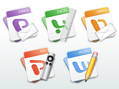 Office for Mac mac icon replacement set office excel word powerpoint outlook pencil paper