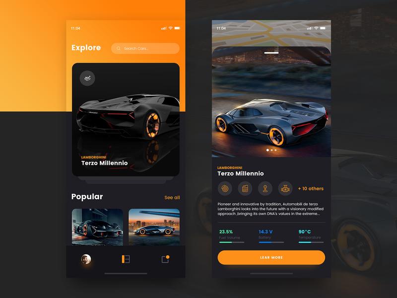 App Design Concept car terzomillannio lamborghini ux ui design ios app mobile