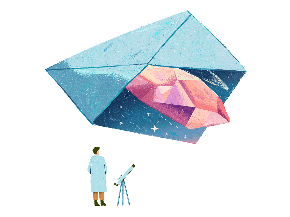 First Interstellar Message space age editorial illustration colorful crystal gem comet telescope scientist message envelope galaxy stars space