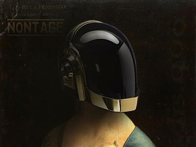 Lady with an Ermine as Daft Punk fan non.tage design collage leonardo da vinci daftpunk