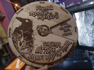 Todays Menu - wood crafted laser engraving lasercut menu design design