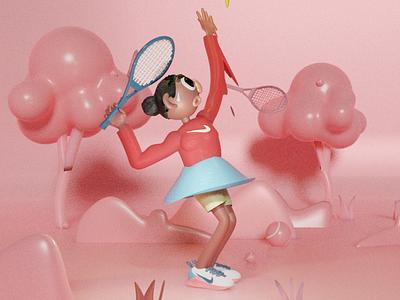 Tenis woman 3d art girl character illustration illustraion blender 3d