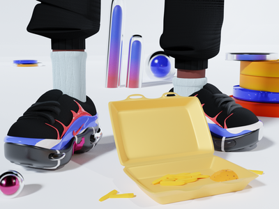Banlieusard Routine graphic brand shoes food nike sneakers illustraion art illustration blender 3d art 3d