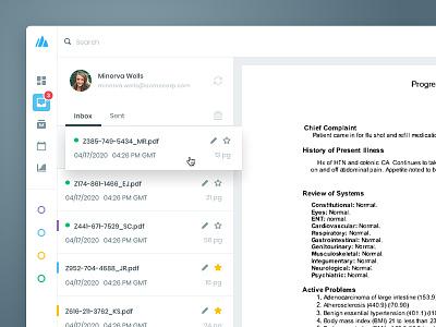 Document inbox concept data flat web preview list file document send inbox dashboard desktop ui design ui minimal product design clean healthcare health