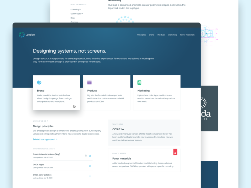 OODA.design web web design web style guide patterns pattern system ui design ui dashboard react design system components component library product design clean healthcare health