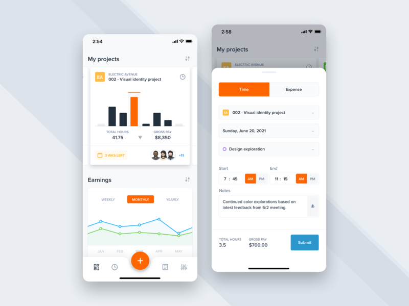 Time tracking app flat mobile ux ui stats statistics freelance remote time management time tracking time graph dashboard charts app product design clean