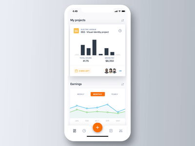 Time tracking interaction flat interactions interaction design interaction ux ui stats statistics freelance remote time tracking time graph dashboard charts app product design clean