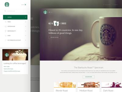 Starbucks Modernization ui web clean modern homepage marketing navigation drawer mockup
