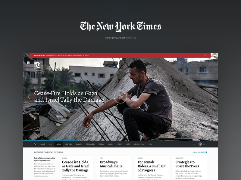 Dribbble nytimes redesign
