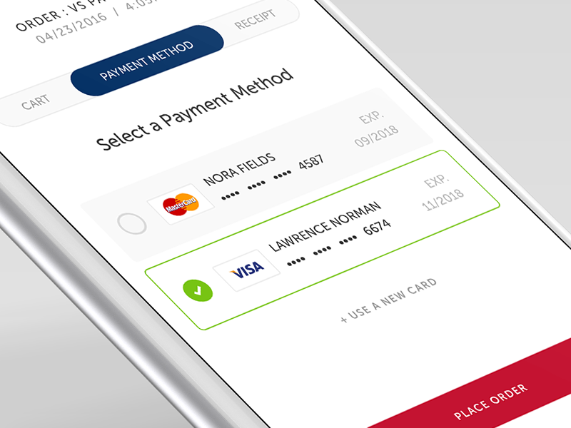 Payment Selection Screen