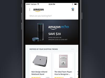 Amazon Mobile Refresh mockup flat app dashboard iphone 7 ios application amazon light clean ui
