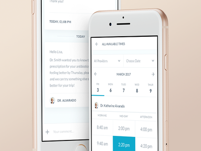 Scheduling & Messages - Mobile flat mobile healthcare application ios iphone 8 dashboard app schedule calendar chat messages