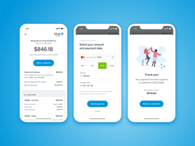 Healthcare Payments dashboard illustration credit card ios flat iphone x drawer credit payments health healthcare