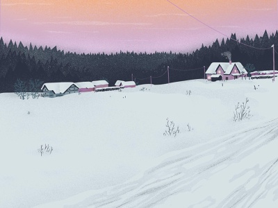 Bad Elster germany morning sunrise outdoor digitalart cold violet digital illustration winter landscape digital drawing illustration personal project