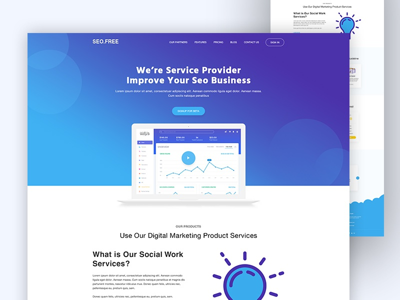 Download Freebie l SEO Landing Page Concept