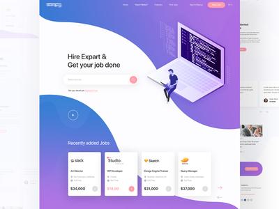 Find your Job & Hire Expart Landing Page job cv illustration search currency ux ui google job app color social gradient app web design hirexpart job