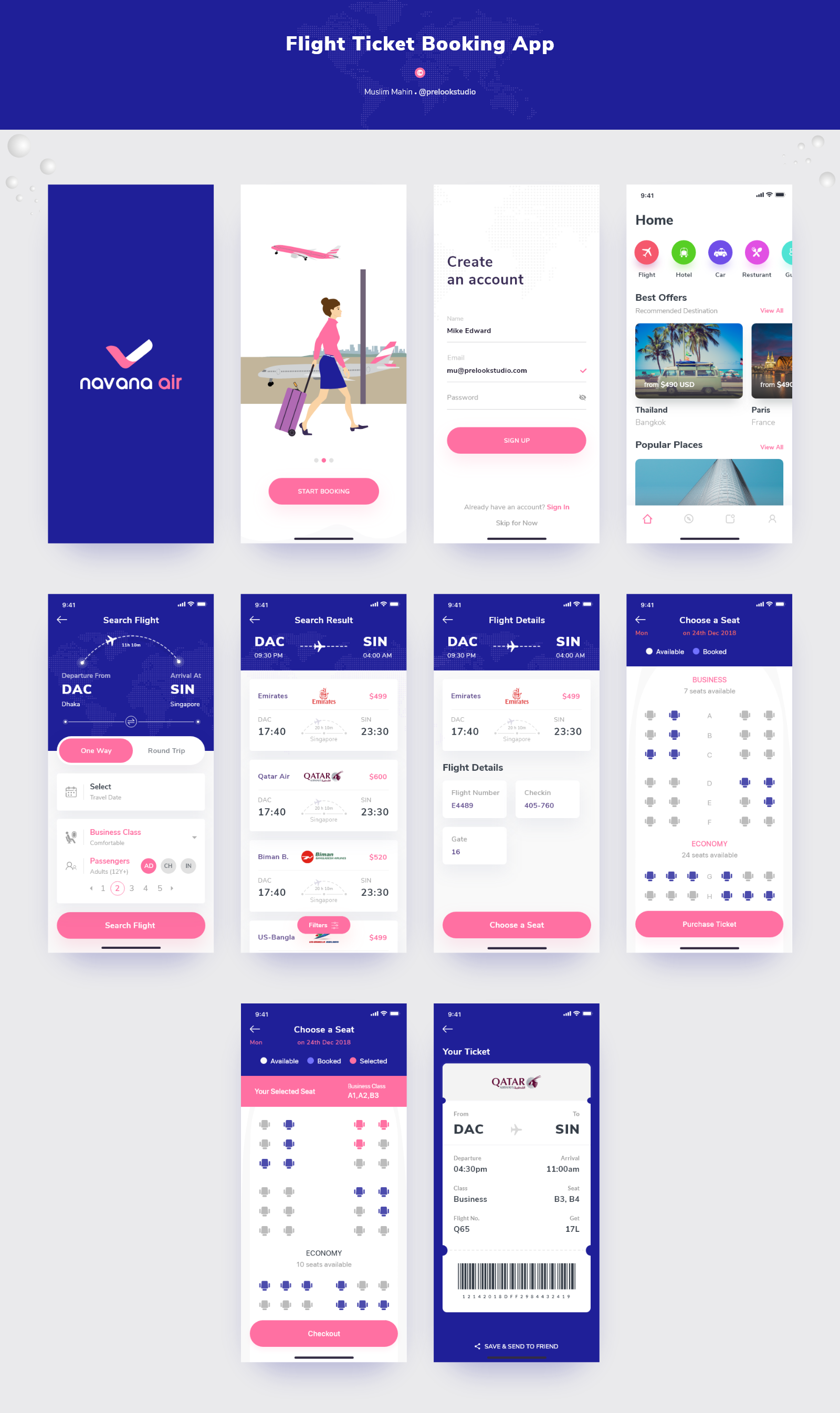 Flight ticket booking app preview