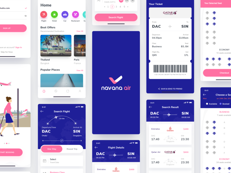 Flight Ticket Booking App Project illustration mobile app flight interface website dashboard apps webdesign popular web 2019 design ux ui dhaka air booking airline ticket flight booking