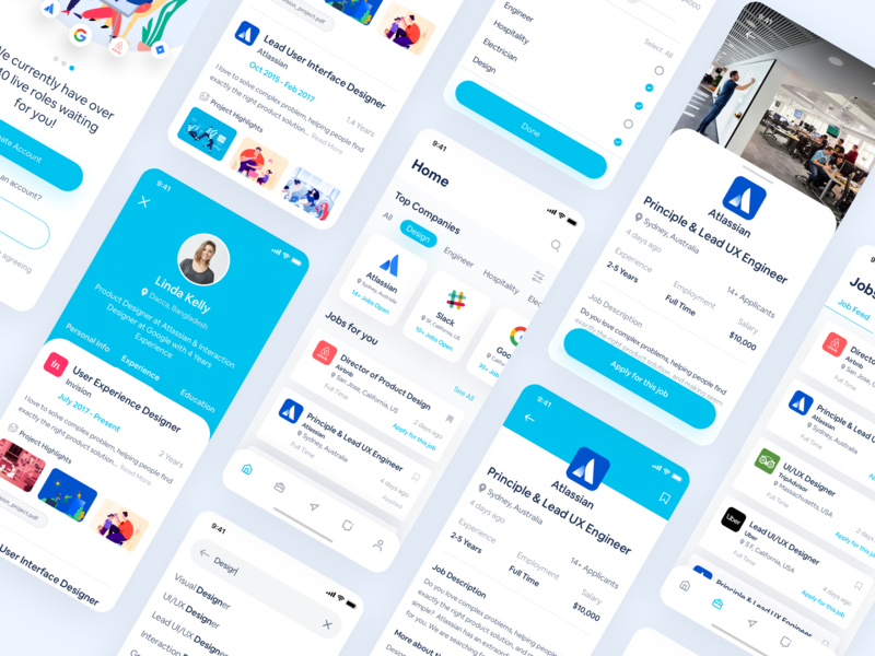 Job Portal iOS Mobile App portal job interface popular mobile application mobile app jobpost job application google atlassian job board uxdesign ux ui app finyourjob jobsearch hireexpert find job jobmobileapp