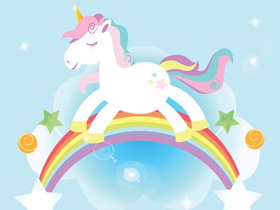 Unicorn funny character wallpaper background birthday banner invitation card pony unicorn cartoon illustration design illustration