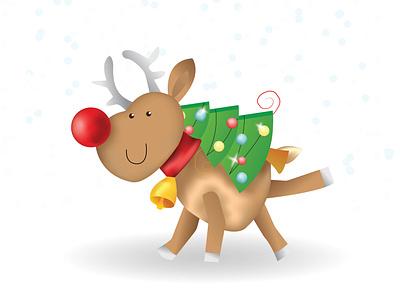 Deer 2 snow red nose illustraion design cute animal cartoon character christmas tree new year christmas card deer illustration