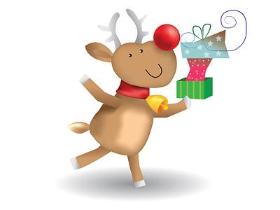 Deer 1 cartoon character cute animal gift card new year poster christmas illustration christmas card deer illustration cartoon design