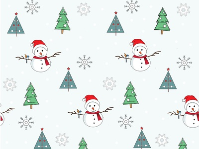 Snowman pattern new year snow christmas tree snowflake bed linens gift wrap christmas christmas card cartoon character illustration pattern snowman