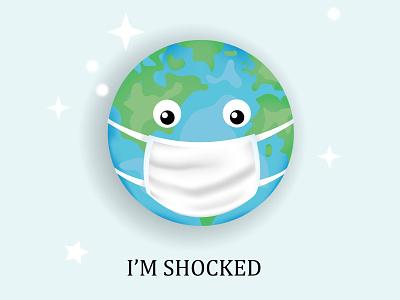Earth illustration social poster 2020 sarcasm funny cartoon background banner illustration design virus mask masked coronavirus social poster art illustration planet earth