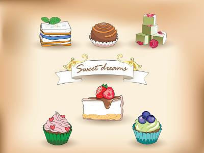 Sweet dreams recipe cookbook chocolate cartoon art yummy bakery cakes food illustration desserts