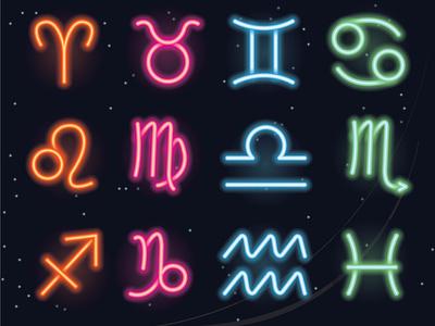 Neon horoscope trendy neon colors night illustration art space illustration graphic design elements symbol icon zodiac sign horoscope neon light