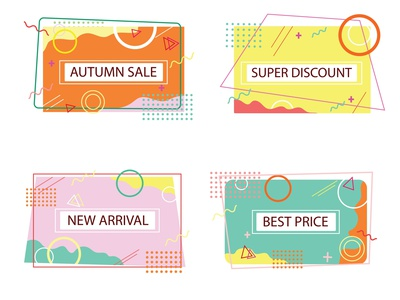 Memphis style sale new arrival best price colorful poster art background design banner autumn collection discount card sales dashboard memphis style branding background illustration design
