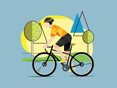 Cyclist flat geometric illutration sport geometric illustration cyclist flat illustration