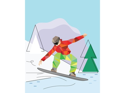 Snowboarder flat geometric illustration winter sport snowboarding geometric illustration flat illustration winter sport background design illustration
