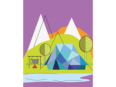 Camping flat illustration camping geometric illustration flat illustration background design illustration