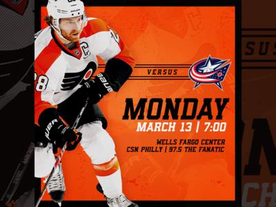 March 13 - Columbus Blue Jackets vs Philadelphia Flyers