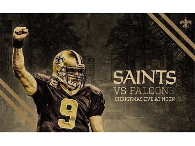 December 24 - Saints vs Falcons sports design graphic design gameday saints new orleans football