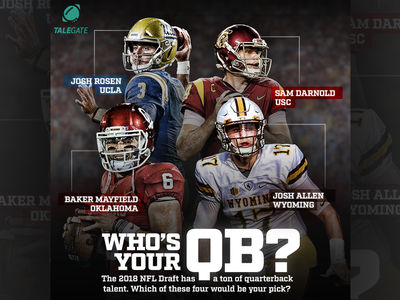 Talegate - Who's Your QB? sports design graphic design football