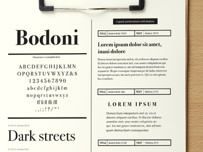 Typeface Specimen & Combinations Sheet typography glossary typo designtheory typography font fonts bodoni layout