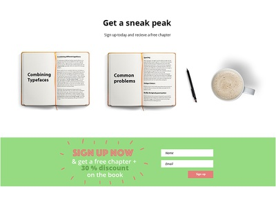 Detail from the Typography Guide Landing Page typography ebook sign up signup sales page landing page typography guide