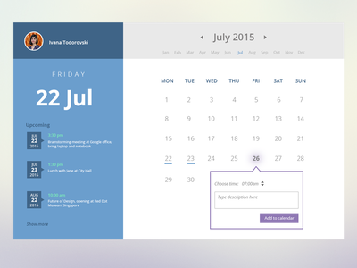 Calendar widget userexperience ux web app widget design flat flatdesign calendar layout calendar dailyui userinterface ui