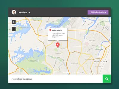 Map - flat UI dailyui web app destination location flat design interface ux traveling map flat ui