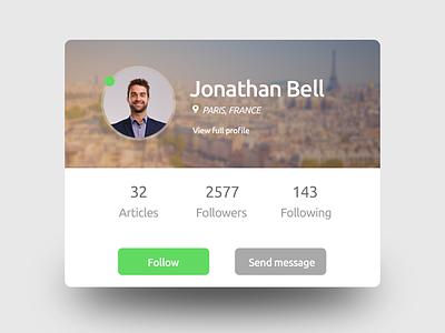 Profile messaging follow flat web layout daily ui interface web profile social media ux ui