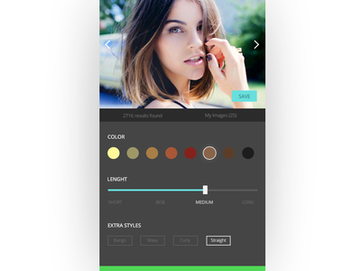 Hairstyle Suggestion App beauty women mobile app web app interface daily ui ux hairstyle app hair ui