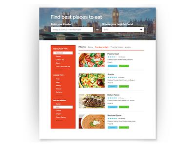 Restaurant Suggestion App suggestions layout web interface dailyui tripadvisor userinterface eating food restaurants ux ui
