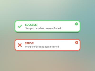 Success & Error message notification interface dailyui ux message notification success error ui