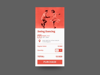 Dance Event Box ecommerce ux ui purchase ticket event music dance