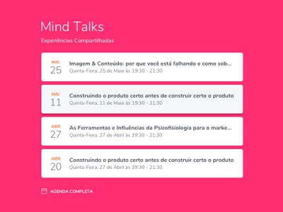 Calendar of Talks for Mind School date cards talks schedule calendar interface ux ui