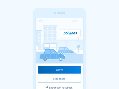 Polyares Parking startup illustration city in perspective street cars city parking